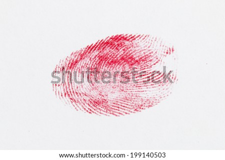 Finger print on gray background - Stock Image macro. - stock photo
