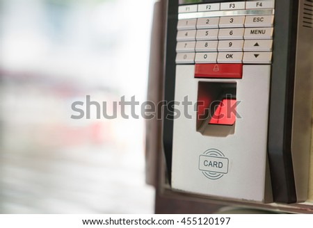 Finger print scan for enter security system. - stock photo
