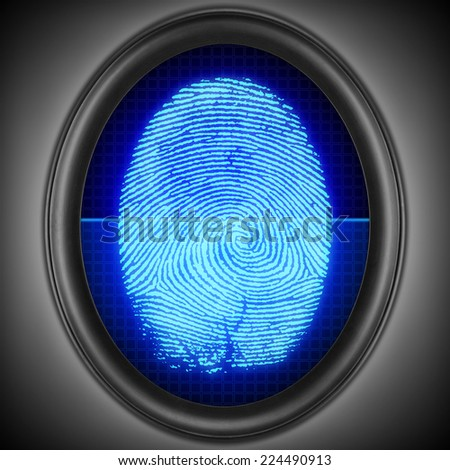 Finger-print scanning. Touch-id. - stock photo