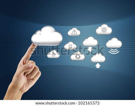 finger pushing cloud icon - stock photo