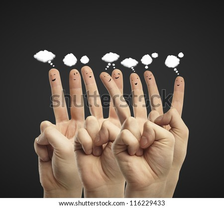 finger smileys communicate with each other - stock photo