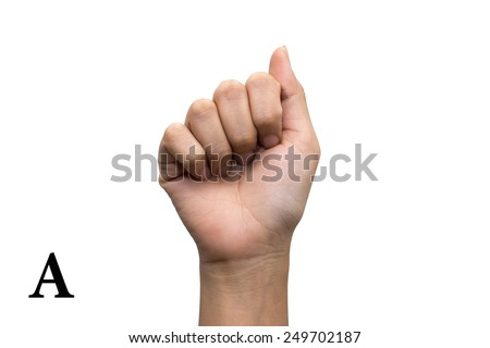 Finger Spelling the Alphabet in American Sign Language (ASL). Letter A - stock photo