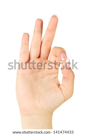 Finger Spelling the Alphabet in American Sign Language (ASL). Letter F - stock photo