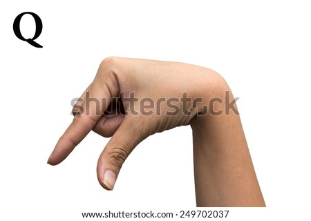 Finger Spelling the Alphabet in American Sign Language (ASL). The Letter Q - stock photo
