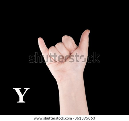Finger Spelling the Alphabet in American Sign Language (ASL). The Letter Y - stock photo