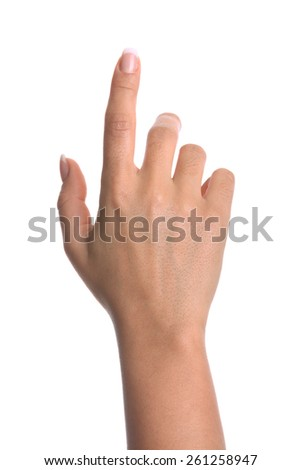 Finger Touch Virtual Screen. Isolated on white background. - stock photo
