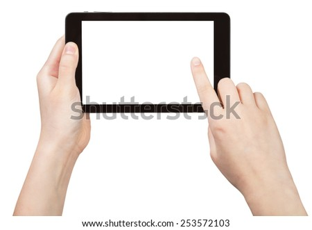 finger touching tablet pc with cut out screen isolated on white background - stock photo