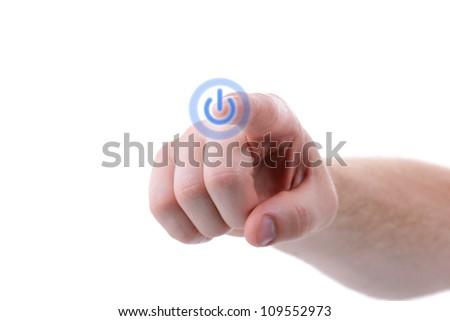 finger turning on power symbol isolated on white background - stock photo