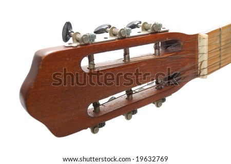 Fingerboard of spanish guitar - stock photo