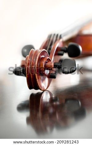 Fingerboard violin closeup - stock photo