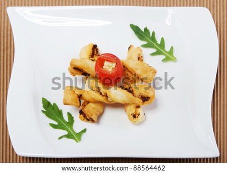 Fingerfood appetizers over a white background. Looking really tasty. - stock photo