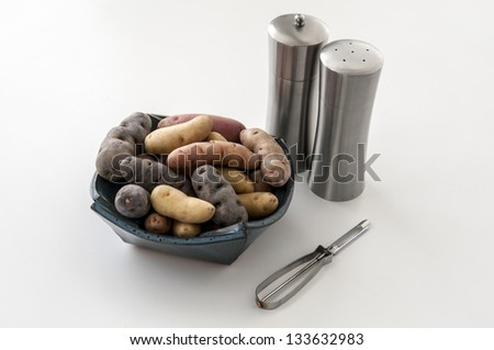 Fingerling Potatoes Still Life Horizontal With Copy Space - stock photo