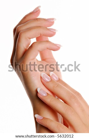 Fingernail.  Manicure and Gesturing. - stock photo