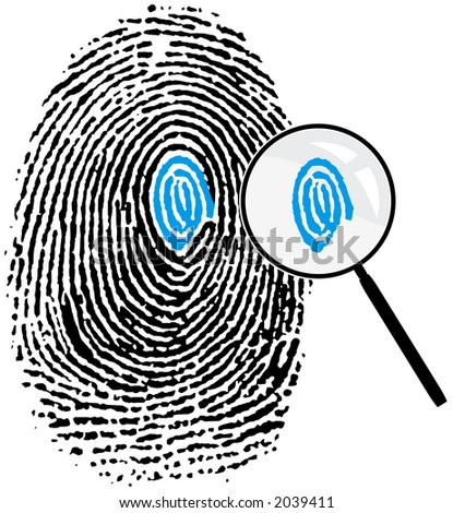 Fingerprint and magnifying glass. Attention to detail concept. - stock photo