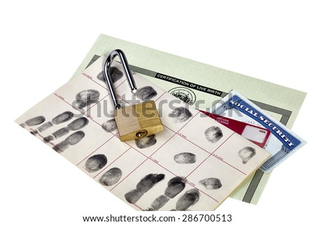 Fingerprint card, social security card, birth certificate and driver's license with unlocked padlock isolated on white - stock photo