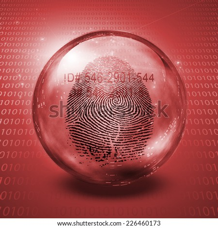 Fingerprint contained in glass sphere with Id Number - stock photo