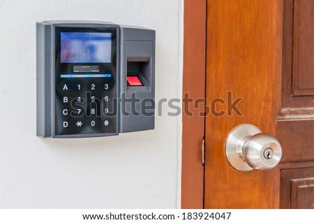 fingerprint door lock - stock photo
