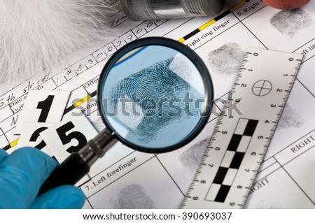 Fingerprint expertise - stock photo