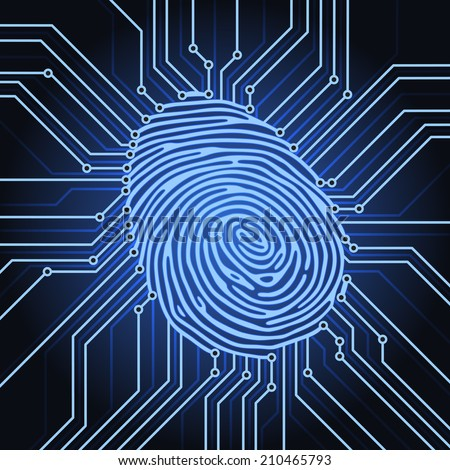 fingerprint identification system electronics scheme - stock photo