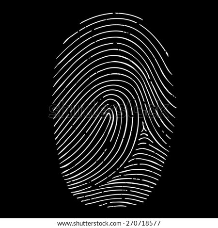 fingerprint isolated on a black background - stock photo