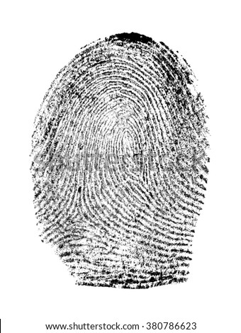 Fingerprint on white background - stock photo