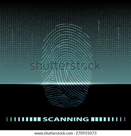 fingerprint scan - stock photo