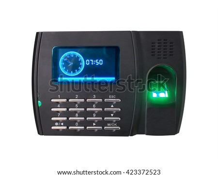 Fingerprint scanner isolated on white background, Clipping path included. - stock photo
