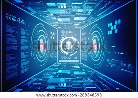 Fingerprint Scanning Technology Concept Illustration. Fingerprint Searching Software. Identity Check - stock photo