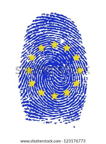Fingerprint stamp on white paper for European Flag illustration - stock photo