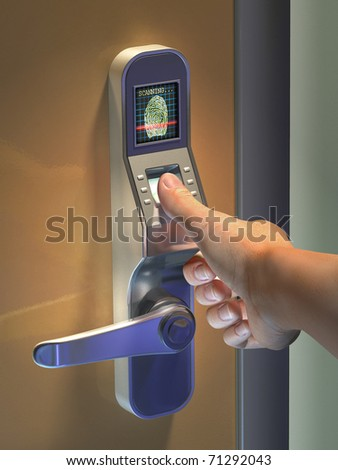 Fingerprint used as an identification method on a door lock. Digital illustration. - stock photo