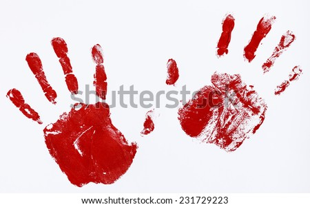 fingerprints and hands soaked in blood hindering stop - stock photo