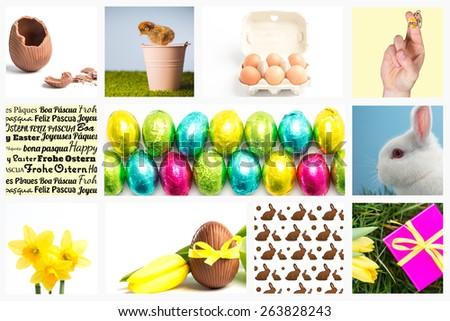 Fingers as easter bunny against broken easter egg - stock photo