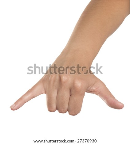 fingers on white background measuring size - stock photo