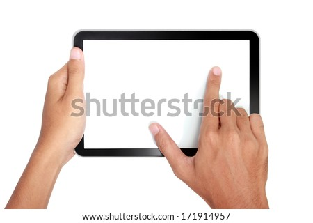 Fingers pinching to zoom tablet's screen. isolated over white background - stock photo