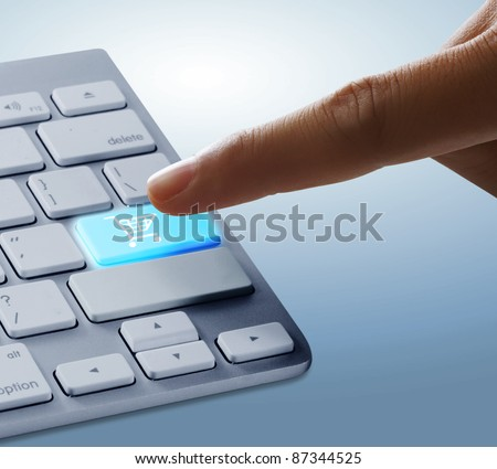 Fingers to keyboard buy now - stock photo