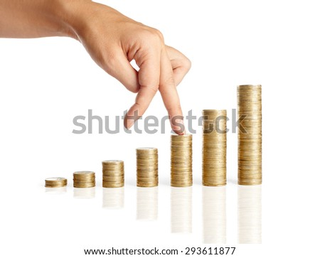 Fingers walking up on stacks of coins isolated on white background. Growth Finance Concept   - stock photo