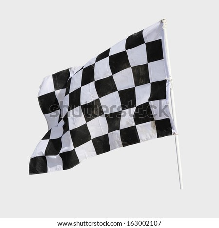 Finish flag for racing car isolate on white - stock photo