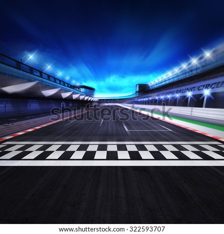 finish line on the racetrack in motion blur with stadium and spotlights, racing sport digital background illustration  - stock photo