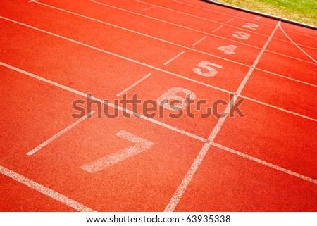 finish point of running track - stock photo