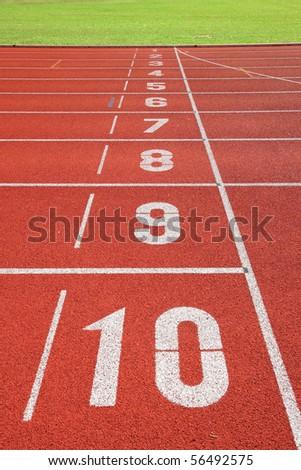 finish point on sport field - stock photo