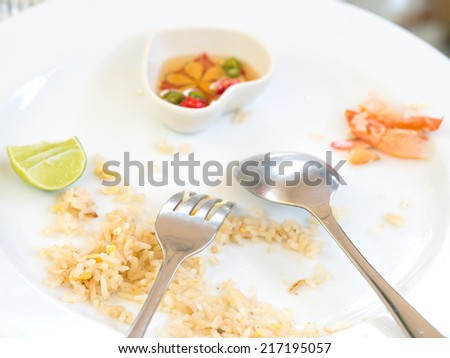 Finished eating of Seafood fried rice ,Thailand food - stock photo