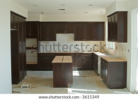 Finished interior wood work of a new home construction project - stock photo