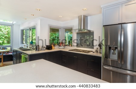 Finished kitchen - the remodel is complete. - stock photo