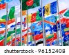 Finland and British Commonwealth and world national flags is flying - stock photo