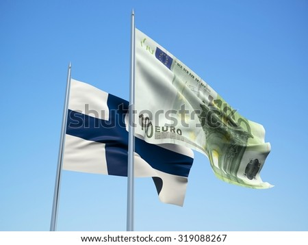 Finland  and euro Banknote flags waving in the wind with a blue sky background. 3d illustration - stock photo