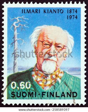 FINLAND - CIRCA 1974: A stamp printed in Finland issued for the 100th anniversary of the birth of Ilimari Kianto shows writer Ilimari Kianto, circa 1974. - stock photo