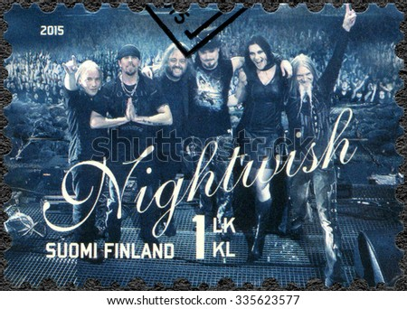 FINLAND - CIRCA 2015: A stamp printed in Finland shows Nightwish, series Six internationally successful Finnish rock bands, circa 2015 - stock photo