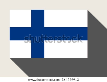 Finland flag in flat web design style. - stock photo