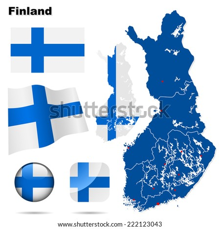 Finland set. Detailed country shape with region borders, flags and icons isolated on white background. - stock photo