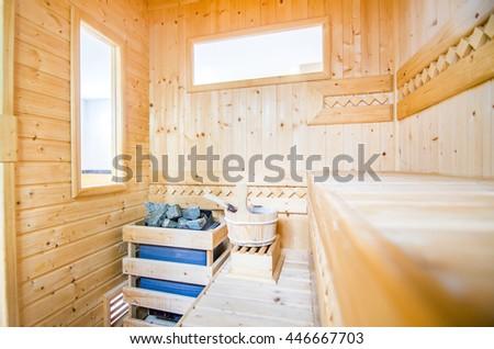 Finland-style classic wooden sauna - stock photo